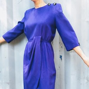 VTG Bright Violet Purple 80s Secretary Dress